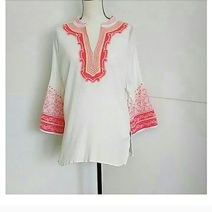 COLDWATER CREEK | White with Pink Embroidery Tunic